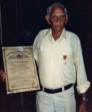 Charlie D'Antoine with his Bravery Award at the 50 year anniversary of the Broome Raids