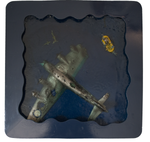 Perspex model of crashed plane