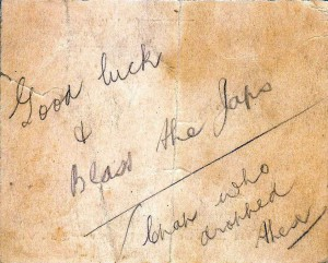 Good luck note dropped to downed plane with diamonds